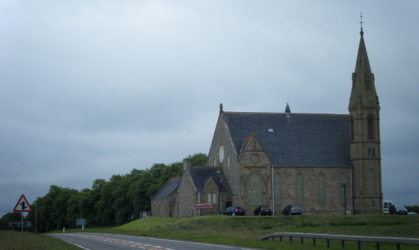 Rosskeen Church building from the A9 travelling north